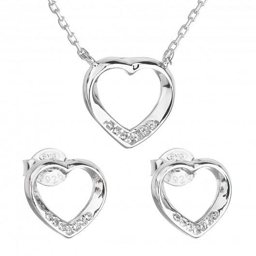 277a31ff9 Sada šperků se zirkonem náušnice a náhrdelník bílé srdce 19019.1