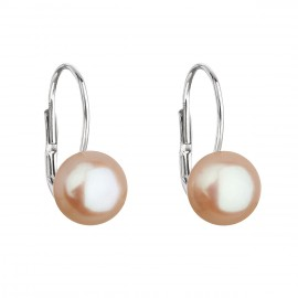 Stříbrné náušnice visací s oranžovou říční perlou 21044.3
