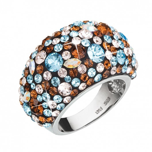 Stříbrný prsten s krystaly Swarovski modrý 35028.3