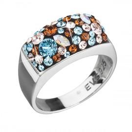Stříbrný prsten s krystaly Swarovski modrý 35014.3