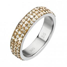 Stříbrný prsten s krystaly Swarovski zlatý 35001.5
