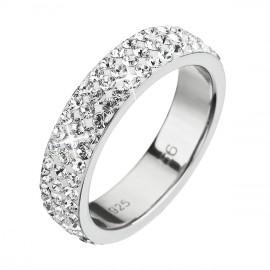 Stříbrný prsten s krystaly Swarovski bílý 35001.1