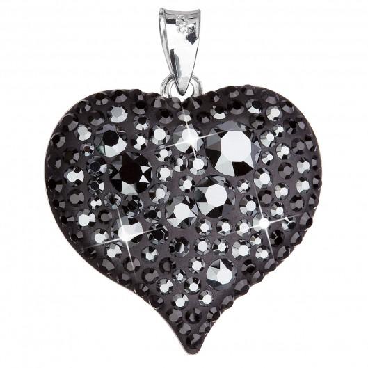 Stříbrný přívěsek s krystaly Swarovski černé srdce 34181.5