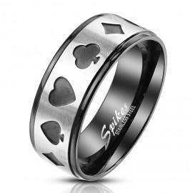 Ocelový prsten karetní motivy
