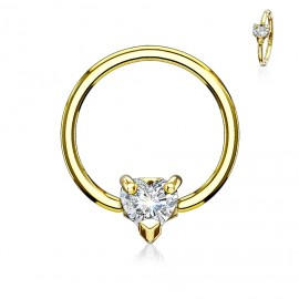 Zlacený piercing - kruh se srdíčkem, čirá barva