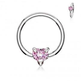 Piercing - kruh se srdíčkem, růžová barva