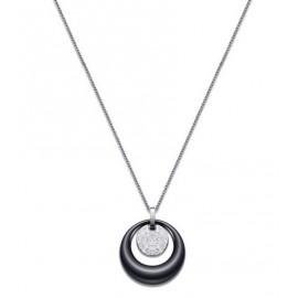 Ocelový náhrdelník s černým keramickým kolečkem a zirkony