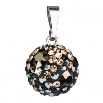 Stříbrný přívěsek s krystaly Swarovski mix barev černá hnědá zlatá kulatý 34080.4