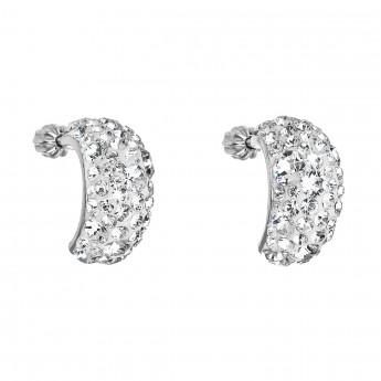 Stříbrné náušnice visací s krystaly Swarovski bílý půlkruh 31164.1 ... 6bcd1eb2070