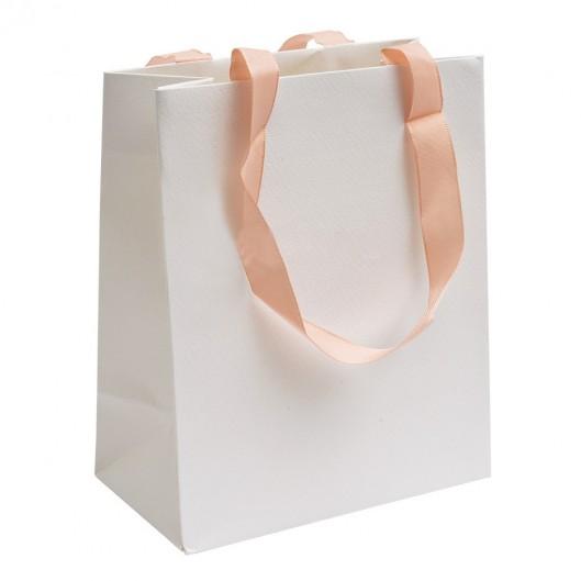 Bílá dárková taška s růžovými uchy