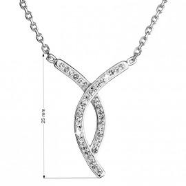 Stříbrný náhrdelník s krystaly Swarovski bílý 32018.1