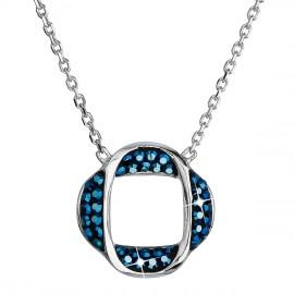Stříbrný náhrdelník s krystaly Swarovski modrý kulatý 32016.5
