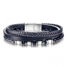 Modrý kožený náramek s ocelovými komponenty, délka 19 cm