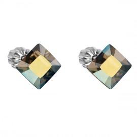 Stříbrné náušnice pecka s krystaly Swarovski zelený čtverec 31065.3