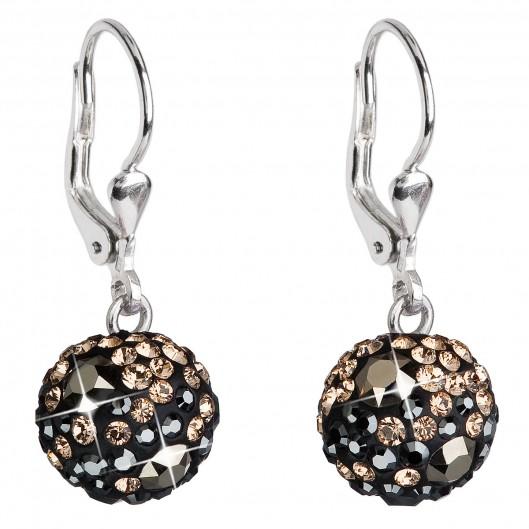 Stříbrné náušnice visací s krystaly Swarovski mix barev kulaté 31109.4