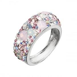 Stříbrný prsten s krystaly Swarovski růžový 35031.3