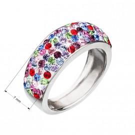 Stříbrný prsten s krystaly Swarovski mix barev 35027.3