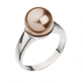 Stříbrný prsten s perlou hnědý 35022.3