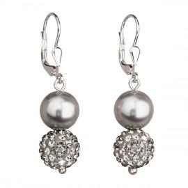 Stříbrné náušnice visací s krystaly Swarovski šedé kulaté 31155.3