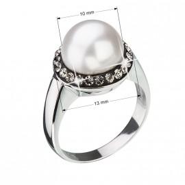 Stříbrný prsten s krystaly Swarovski a šedou perlou 35021.3