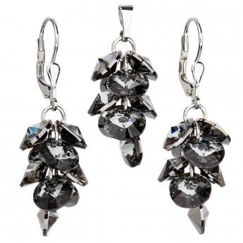 Sada šperků s krystaly Swarovski náušnice a přívěsek šedý hrozen 39104.3