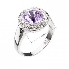 Stříbrný prsten s krystaly Swarovski fialový kulatý 35026.3