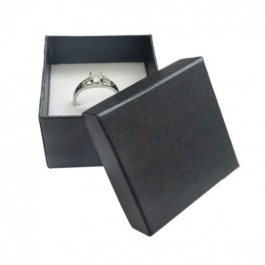 Dárková krabička na prsten nebo náušnice kovově černá