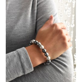 Perlový náramek šedý 33061.3