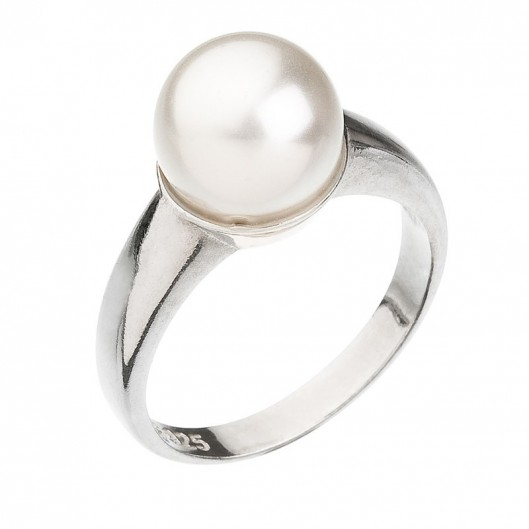 Stříbrný prsten s perlou bílý 735022.1