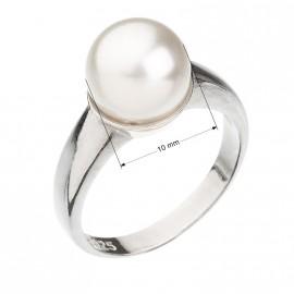 Stříbrný prsten s perlou bílý 35022.1