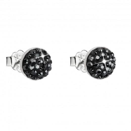 Stříbrné náušnice pecka s krystaly Swarovski černé kulaté 31136.5