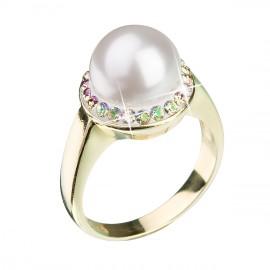 Stříbrný prsten s krystaly Swarovski a perlou bílý luminous green 35021.6