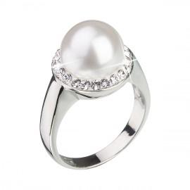 Stříbrný prsten s krystaly Swarovski a bílou perlou 35021.1