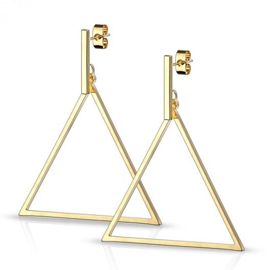 Zlacené visací ocelové náušnice trojúhelníky