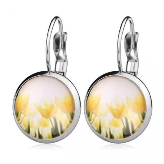 Ocelové náušnice žluté tulipány