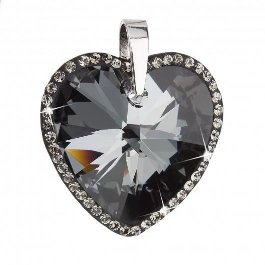 Stříbrný přívěsek s krystaly Swarovski černé srdce 34138.5