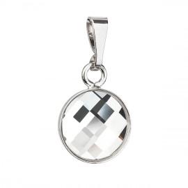 Stříbrný kulatý přívěšek s krystaly Crystals from Swarovski® Chessboard kulatý Crystal