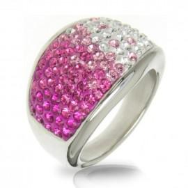 Ocelový prsten s krystaly Crystals from Swarovski®, ROSE