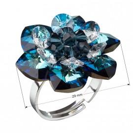 Stříbrný prsten s krystaly Swarovski modrá kytička 35012.5