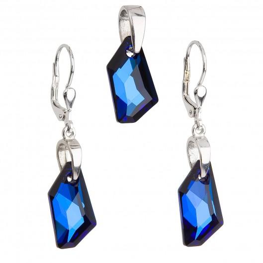 Sada šperků s krystaly Swarovski náušnice a přívěsek modrý krystal 39039.5