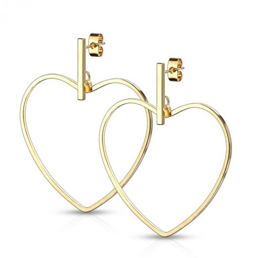 Zlacené visací ocelové náušnice srdce