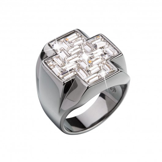 Stříbrný prsten s krystaly bílý kříž 35811.1