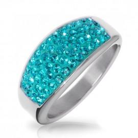 Ocelový prsten s krystaly Crystals from Swarovski®, BLUE ZIRCON