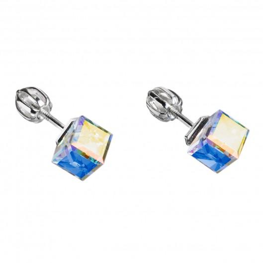 Stříbrné náušnice pecka s krystaly Swarovski AB efekt kostička 31030.3