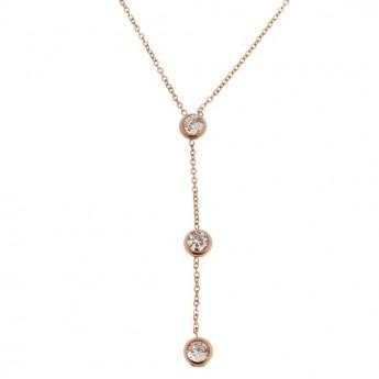 Zlacený ocelový náhrdelník se zirkony