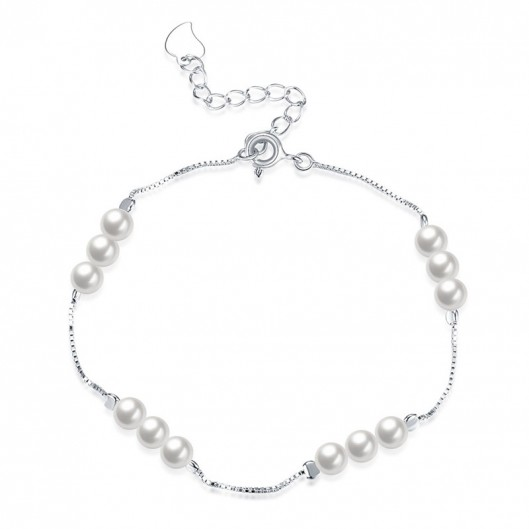 Stříbrný náramek s perličkami