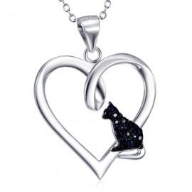 Stříbrný náhrdelník srdce s kočičkou