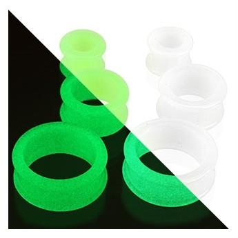 Tunel do ucha ze silikonu bílý svítící, průměr 10 mm