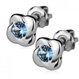 Stříbrné náušnice šroubovací - kytičky se světle modrými zirkony