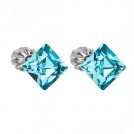 Stříbrné náušnice s krystaly Crystals from Swarovski®, Light Turquoise
